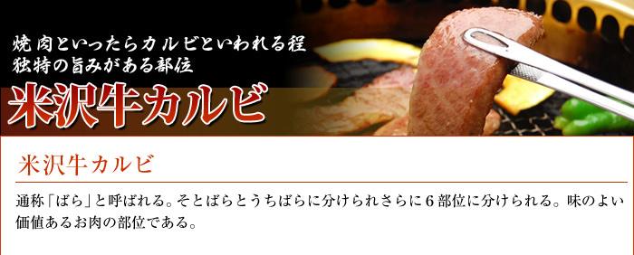 米沢牛通販の米沢牛カルビのバナーです。