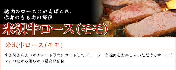 米沢牛通販の米沢牛ロース(モモ)のバナーです。