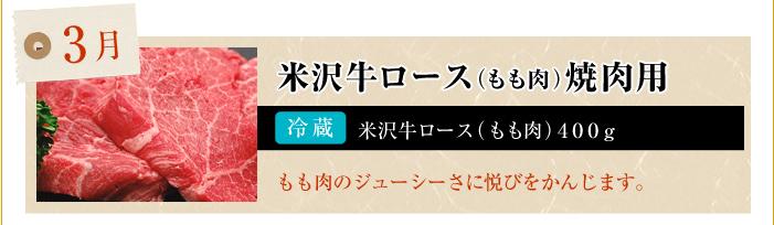 3月 米沢牛ロース(もも肉)焼肉用
