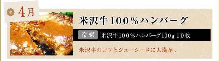 4月 米沢牛100%ハンバーグ